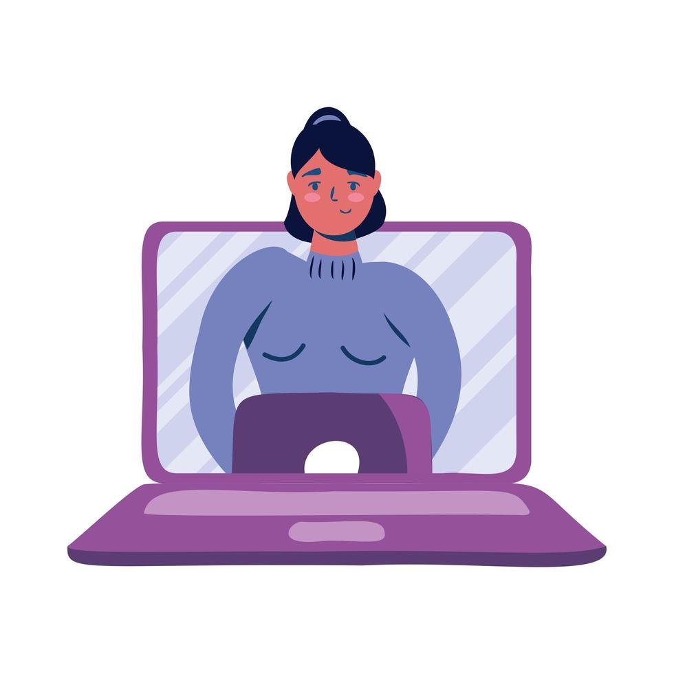 Woman avatar on laptop in video chat vector design