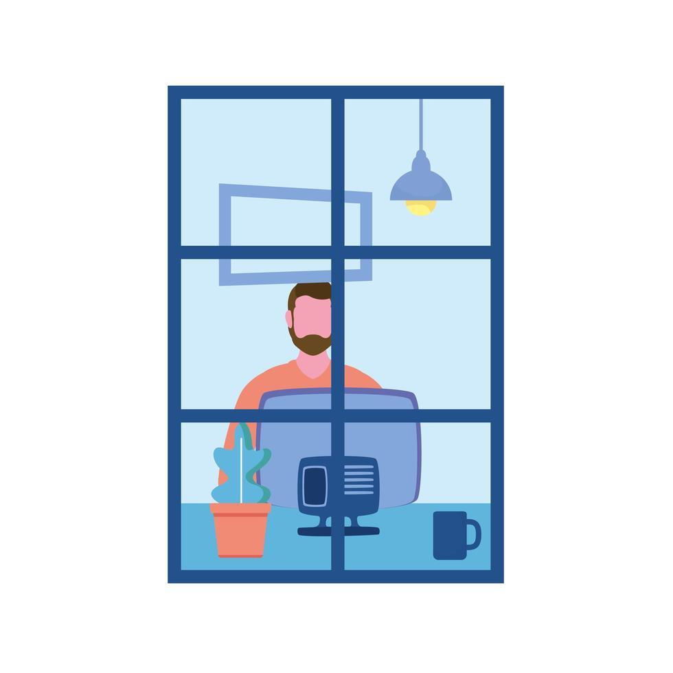 hombre con computadora en diseño vectorial de ventana vector