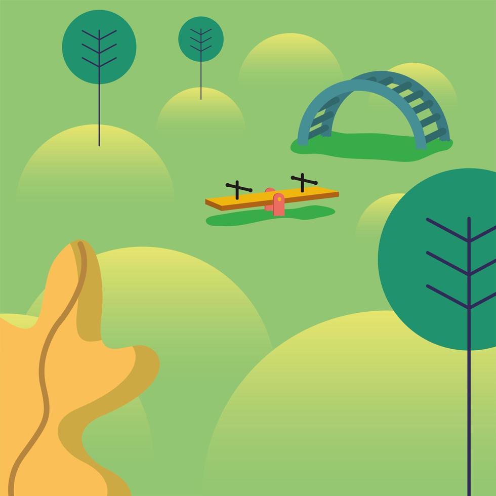 paisaje del parque con árboles y juguetes para niños diseño vectorial vector