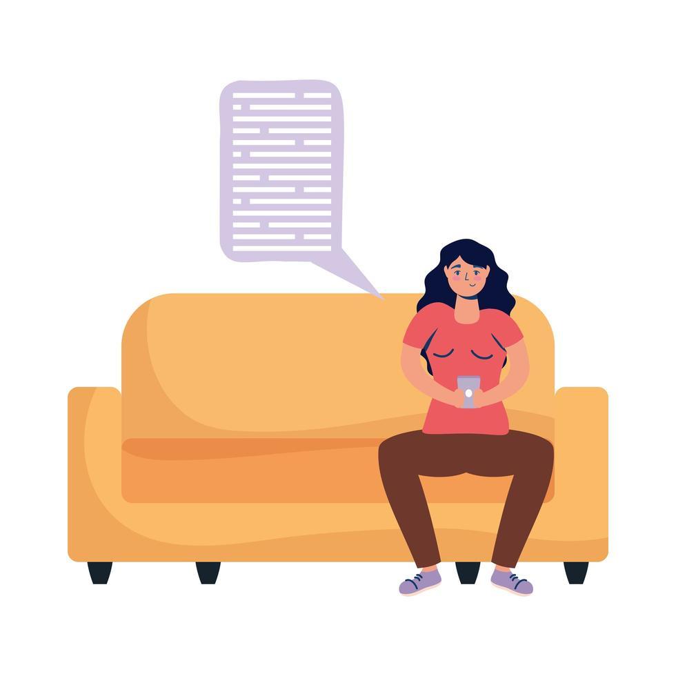 mujer con smartphone en sofá y diseño de vector de burbuja