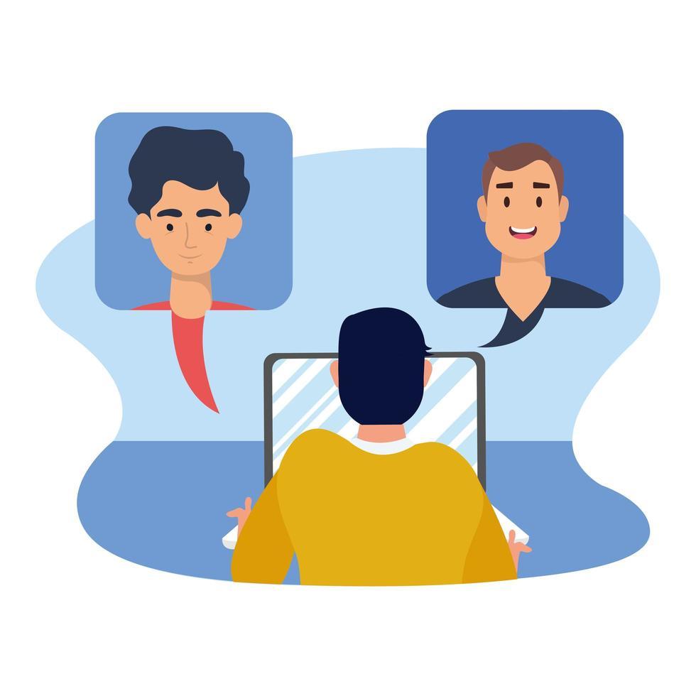 Hombre con laptop y video chat burbujas diseño vectorial vector