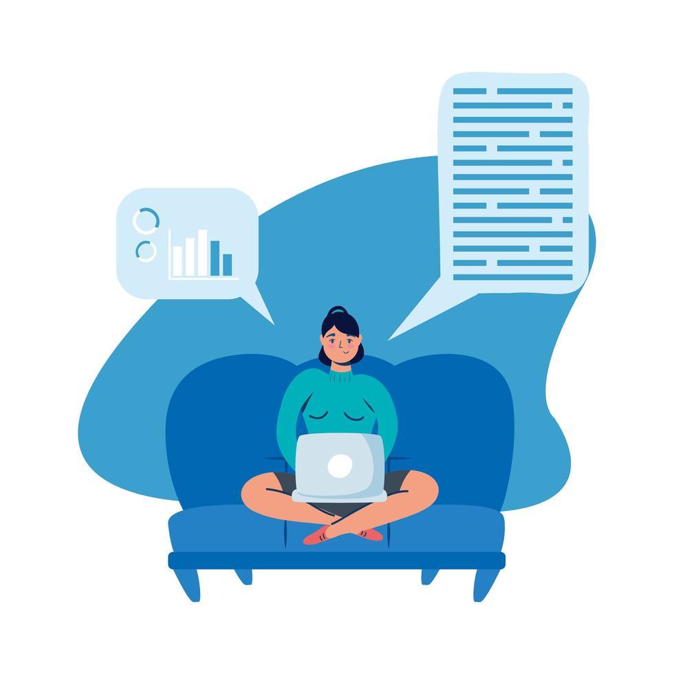 mujer con laptop en diseño de vector de sofá