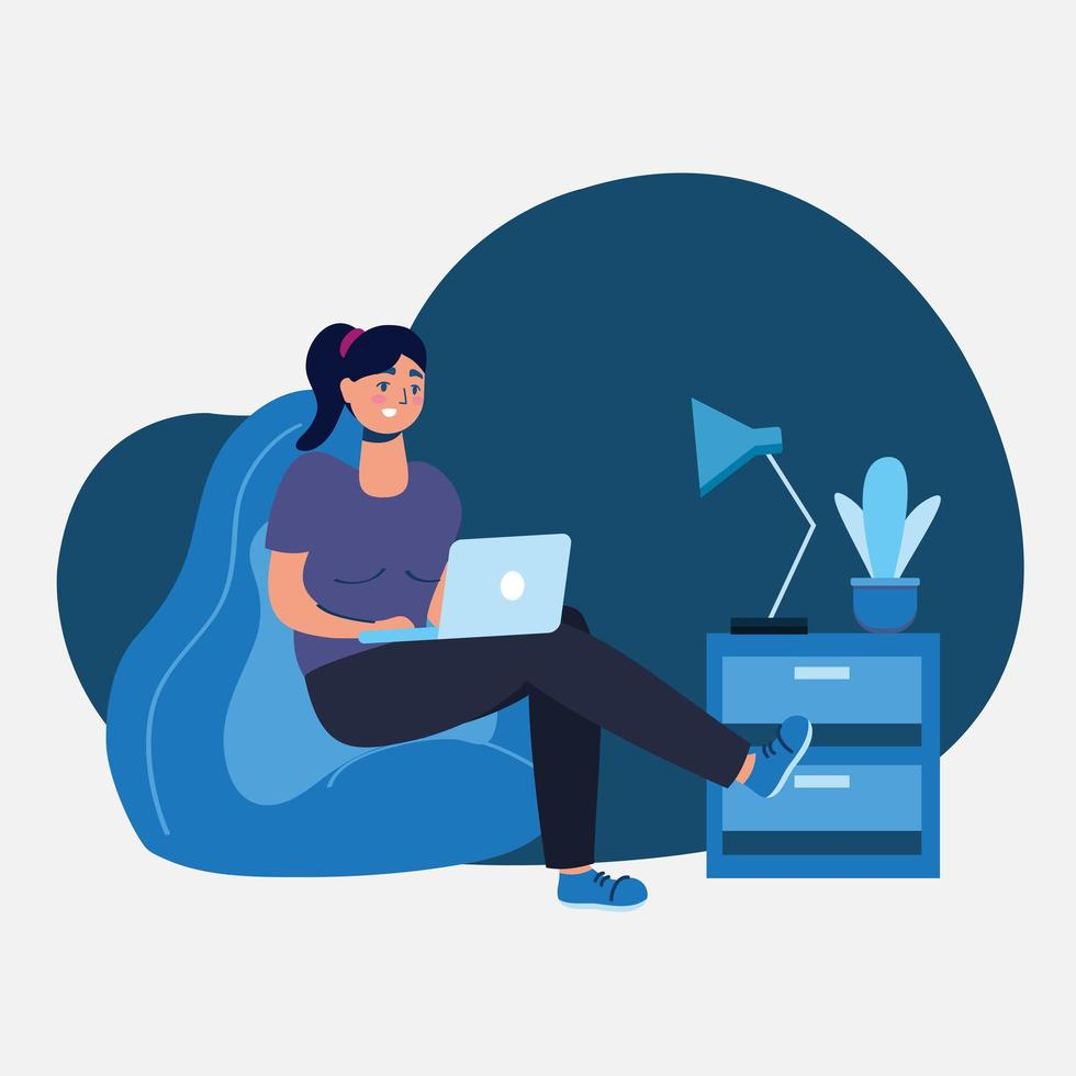 Woman with laptop on puff vector design