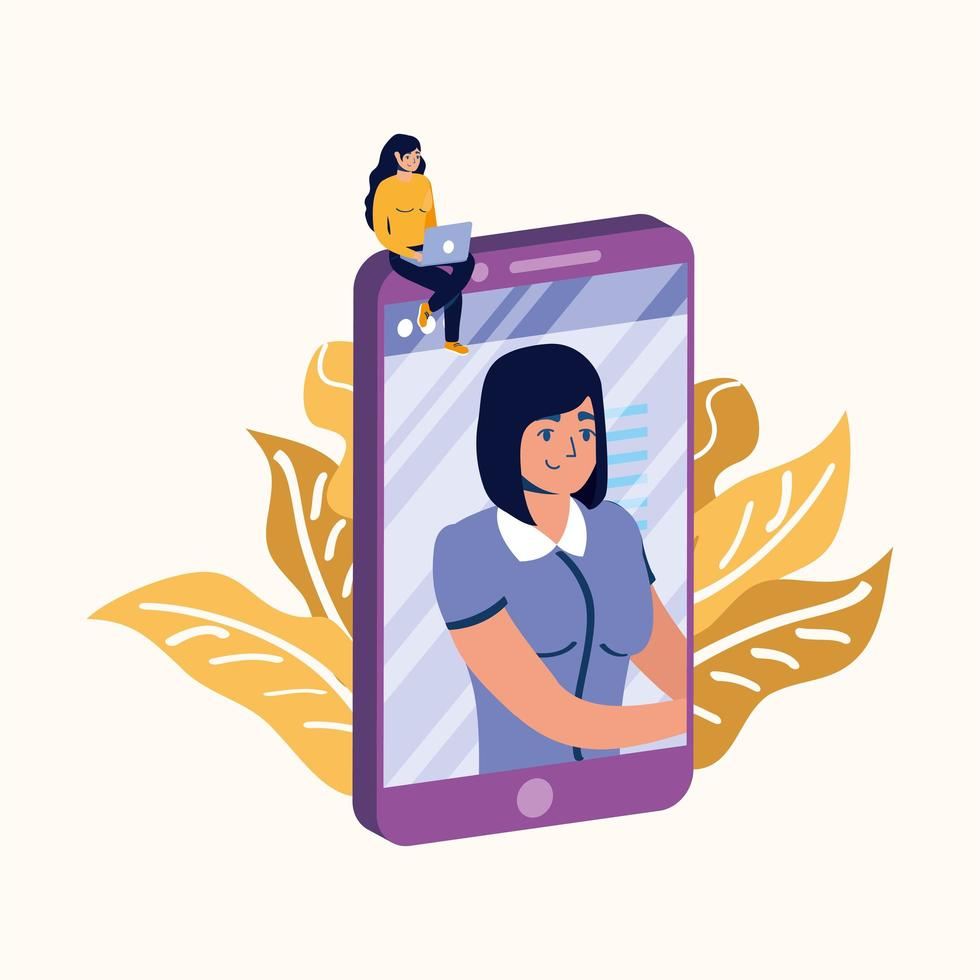 Woman with laptop on smartphone vector design