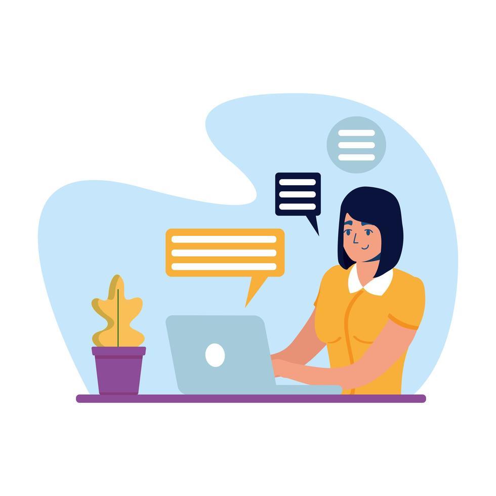 mujer con laptop y burbujas de diseño vectorial vector
