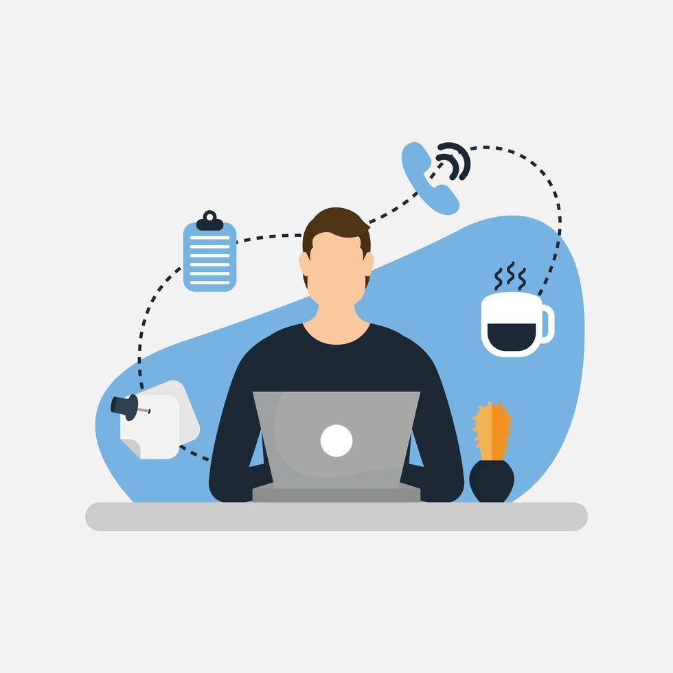 Hombre con laptop y diseño vectorial de conjunto de iconos vector