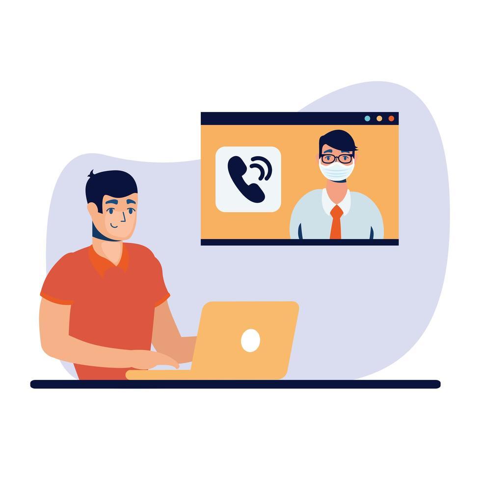 Hombre con laptop y diseño de vector de chat de video