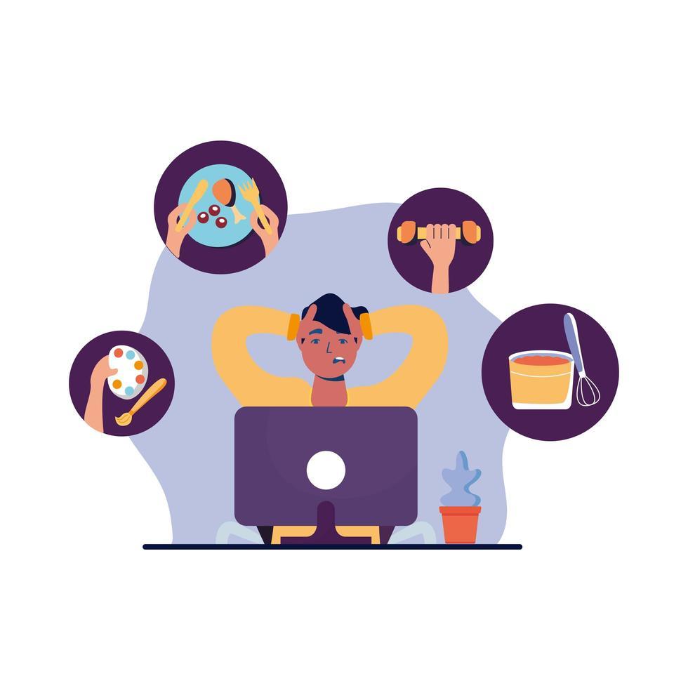 Hombre con computadora y actividades conjunto de iconos de diseño vectorial vector