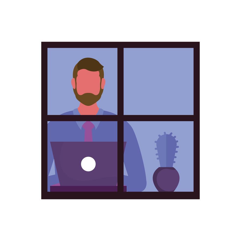hombre con laptop en diseño vectorial de ventana vector