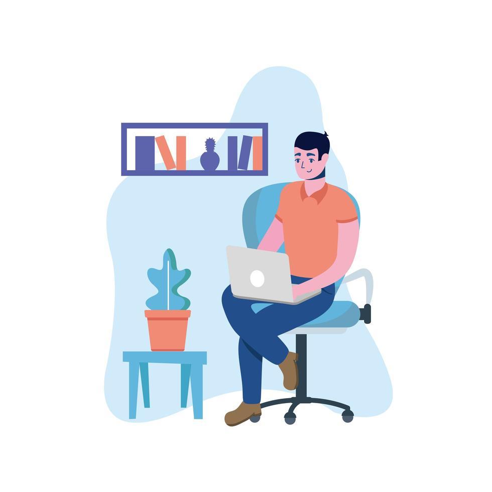 hombre con laptop en silla diseño vectorial vector