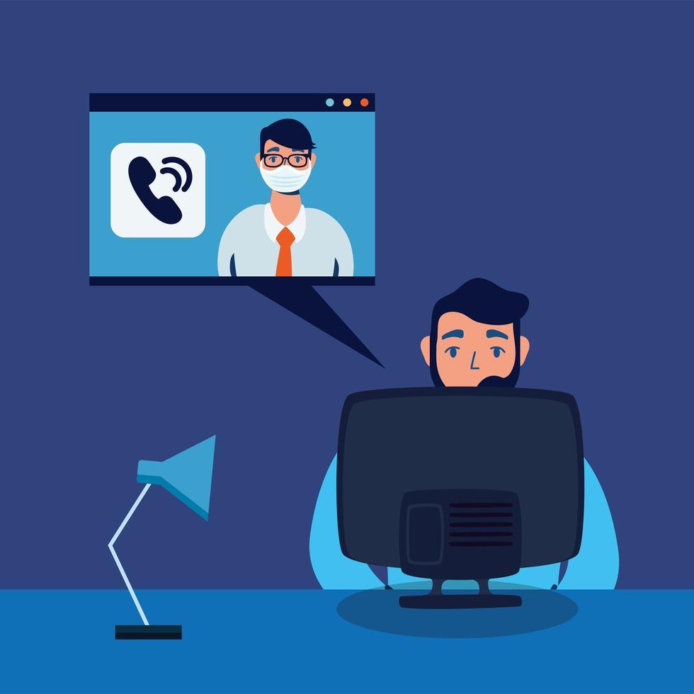Hombre con computadora y video chat diseño vectorial vector