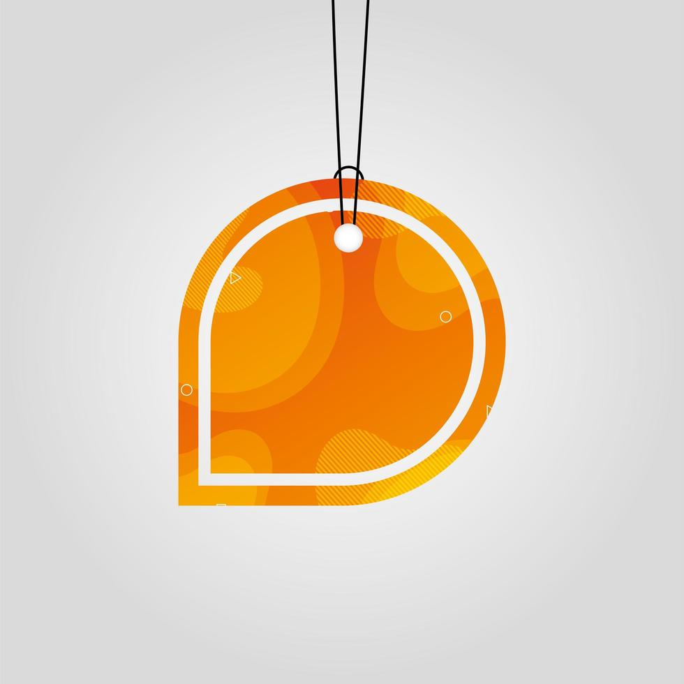 orange commercial tag with vibrant color vector