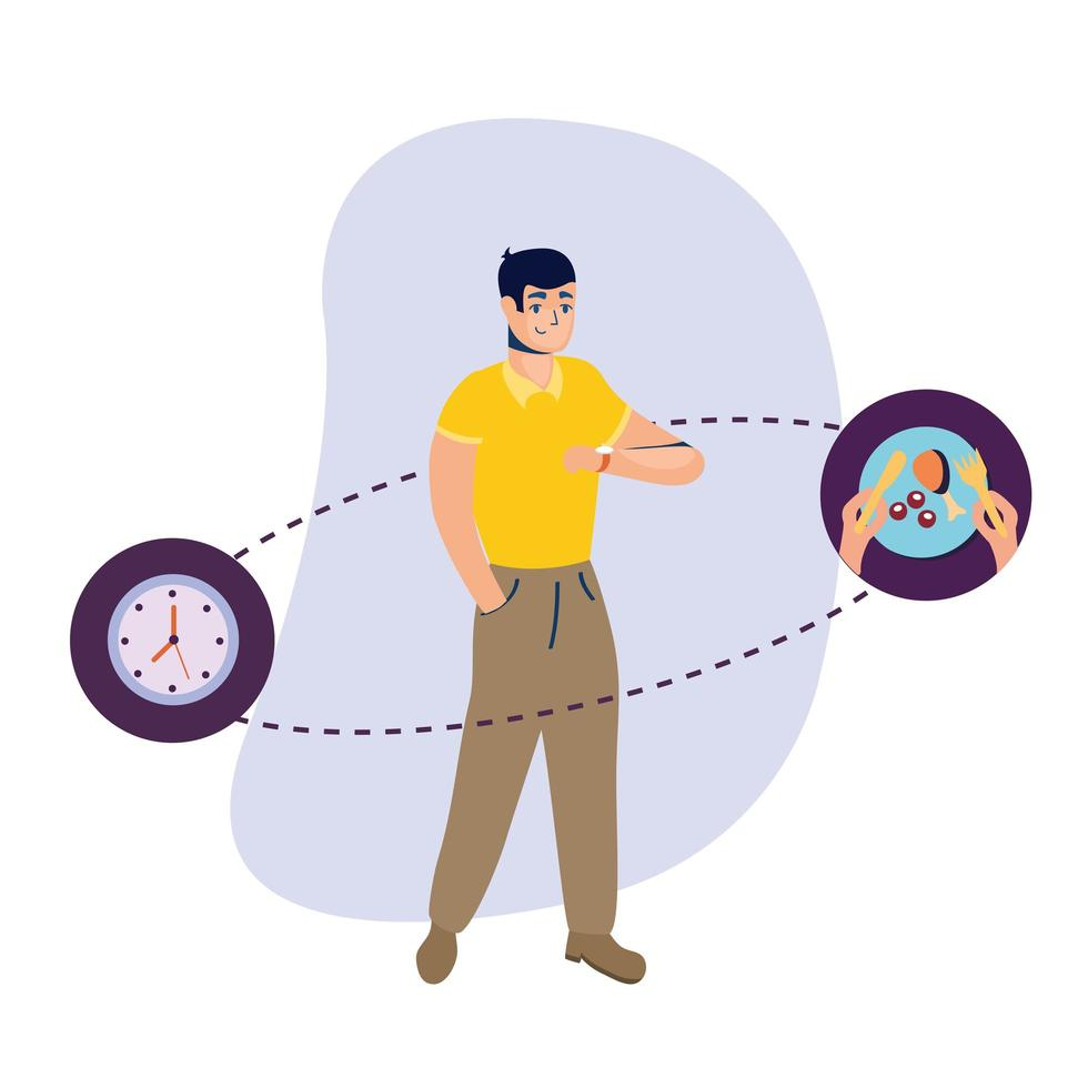 Man with clock and chicken plate vector design