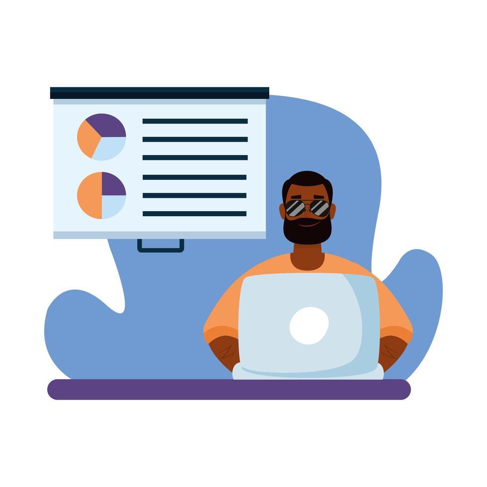 hombre con laptop y diseño vectorial de tablero vector