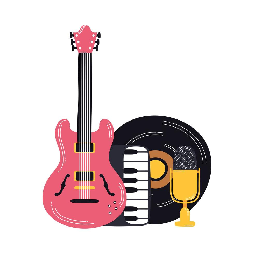 music vinyl disk with instruments vector