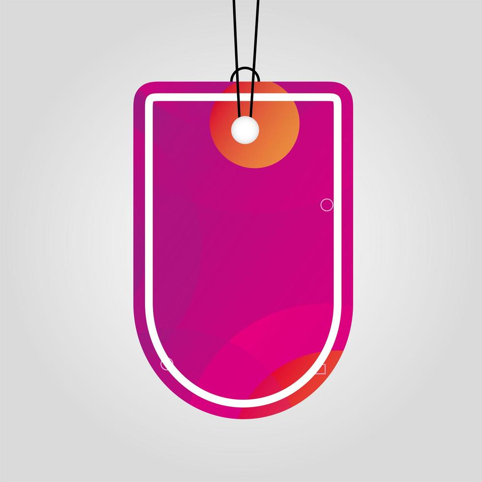 commercial tag with pink vibrant color vector