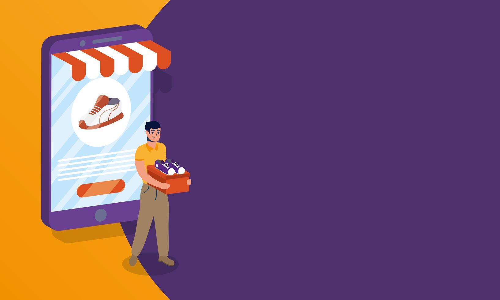 Compras de comercio electrónico en línea con hombre comprando zapatos y teléfono inteligente. vector