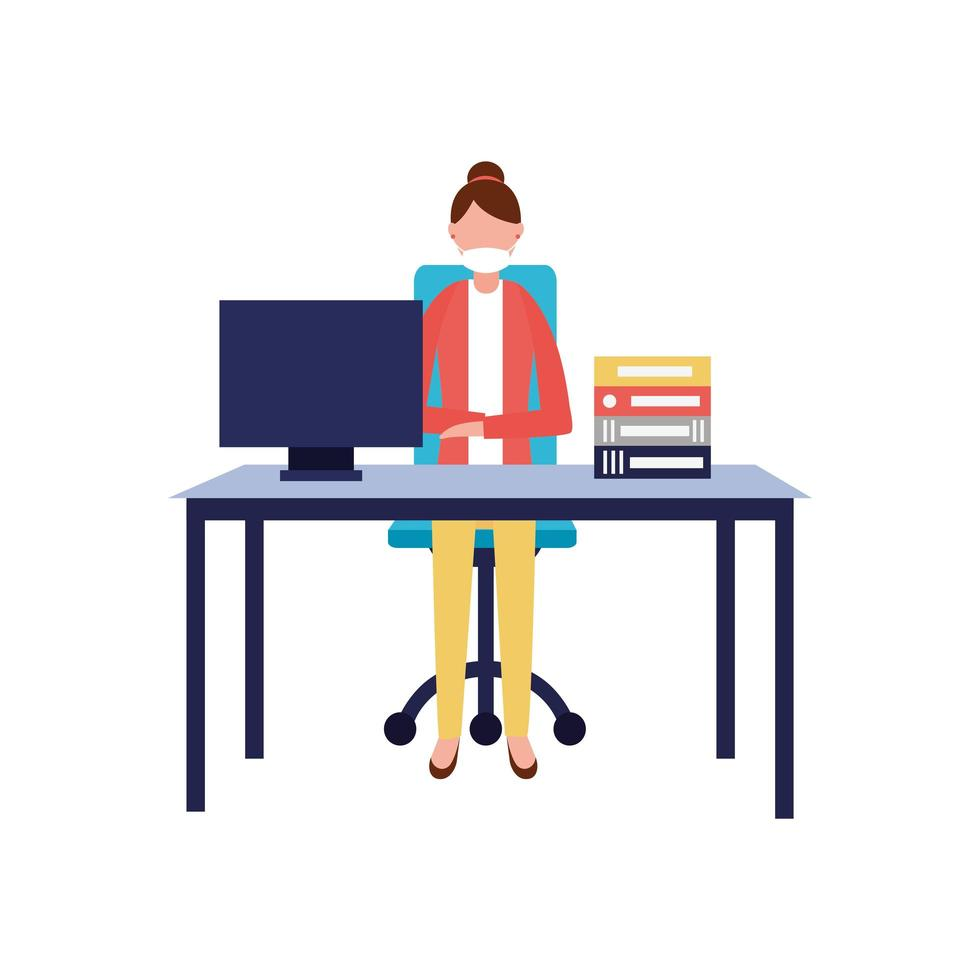 Woman with medical mask on desk vector design