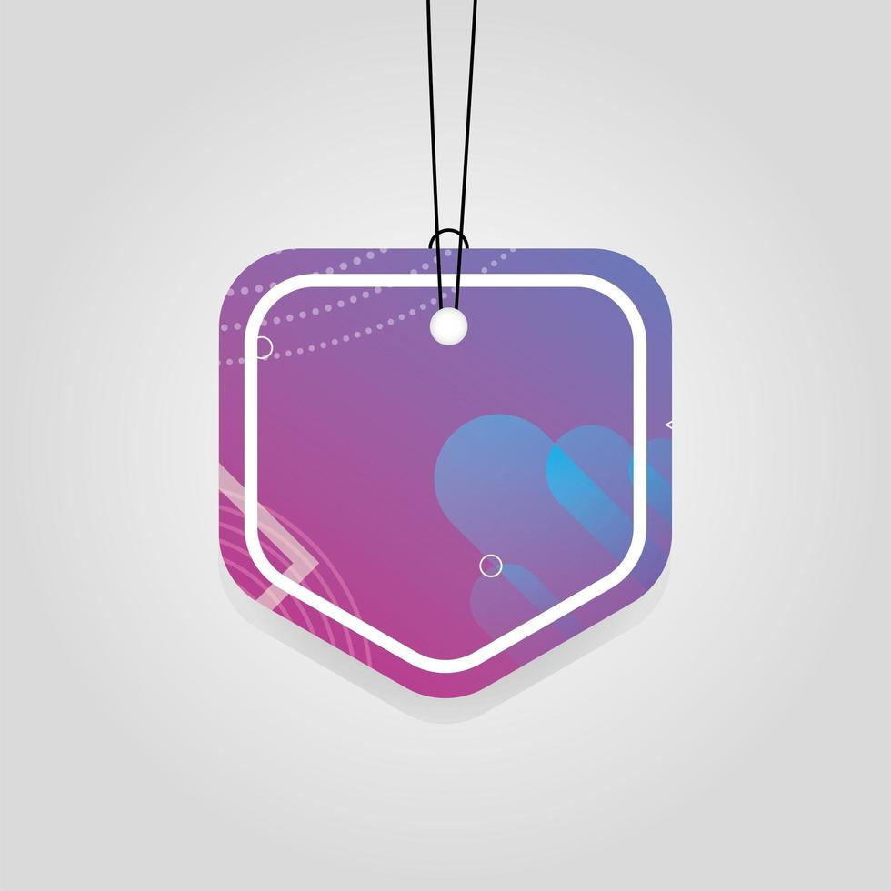 commercial tag with purple vibrant color vector