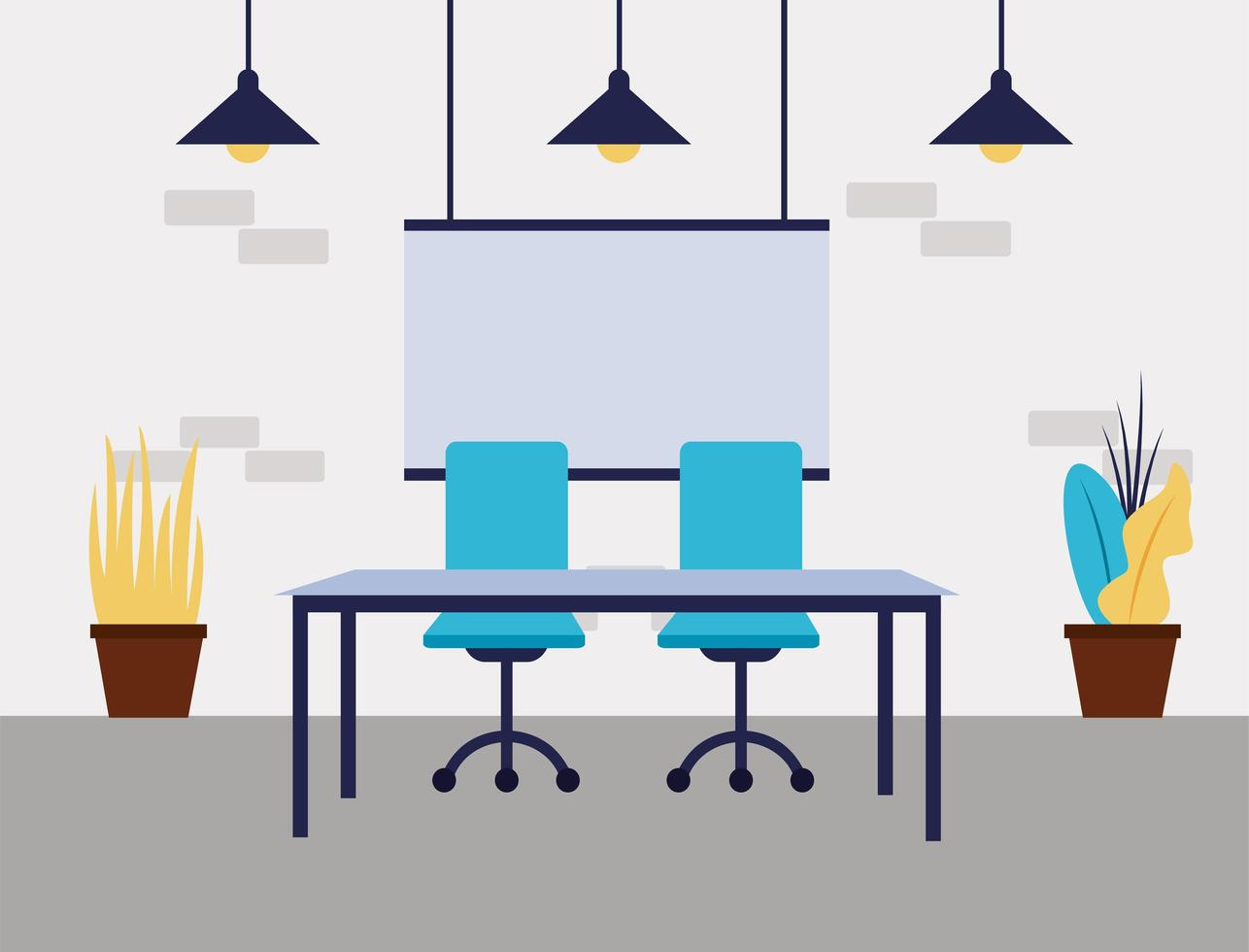Office desk with chairs vector design