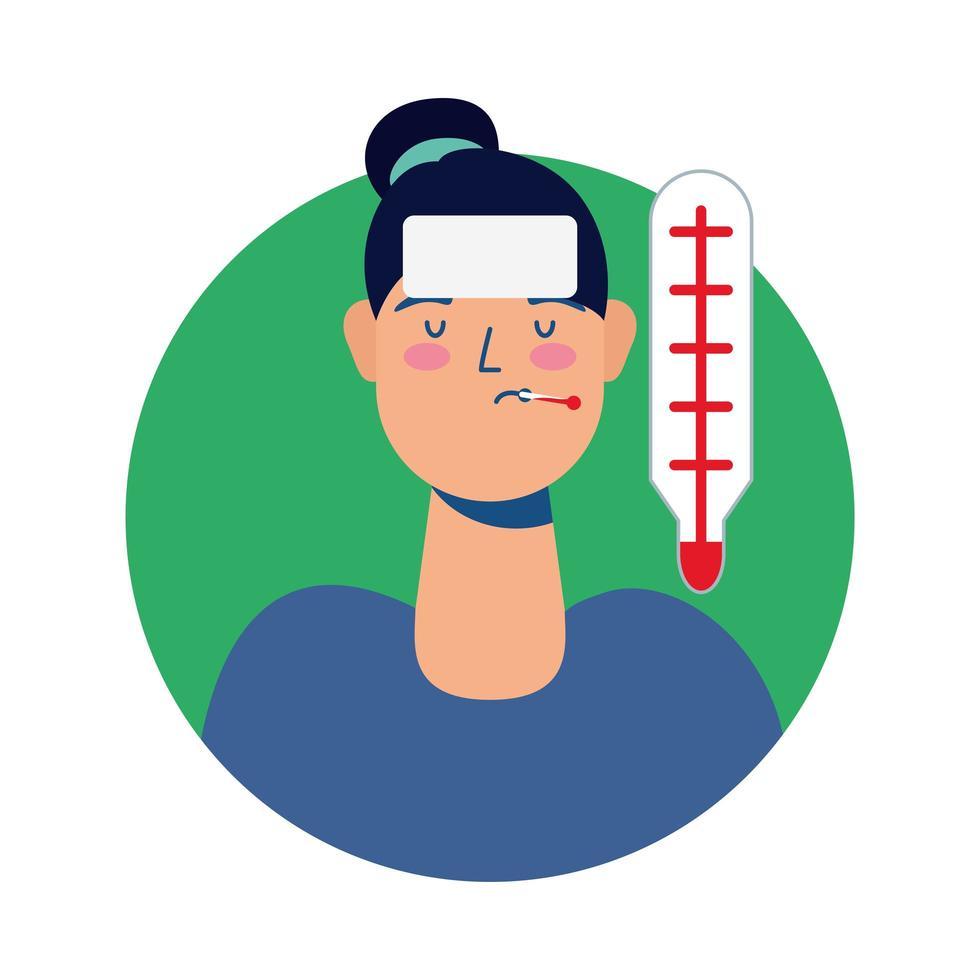 mujer joven enferma con fiebre avatar personaje vector