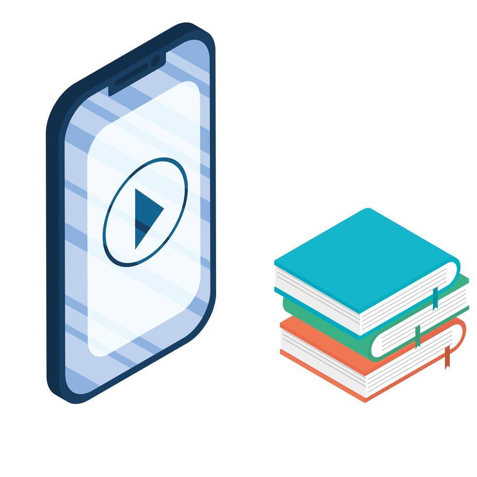 dispositivo de teléfono inteligente electrónico con libros electrónicos vector