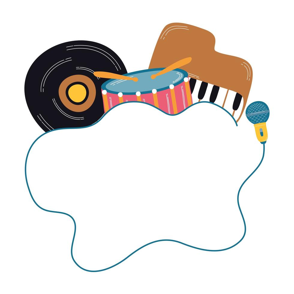 Disco de vinilo musical con instrumentos. vector