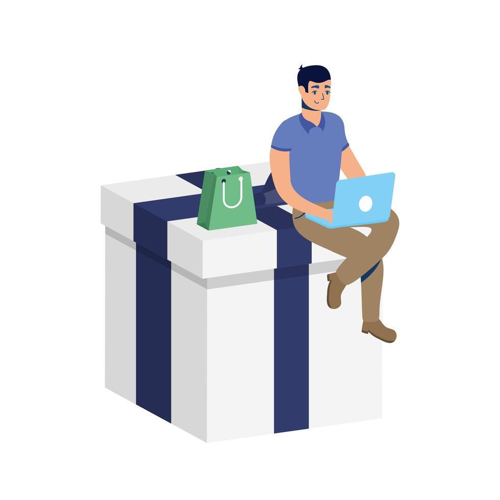 Comercio electrónico en línea de negocios con hombre usando laptop y regalo vector