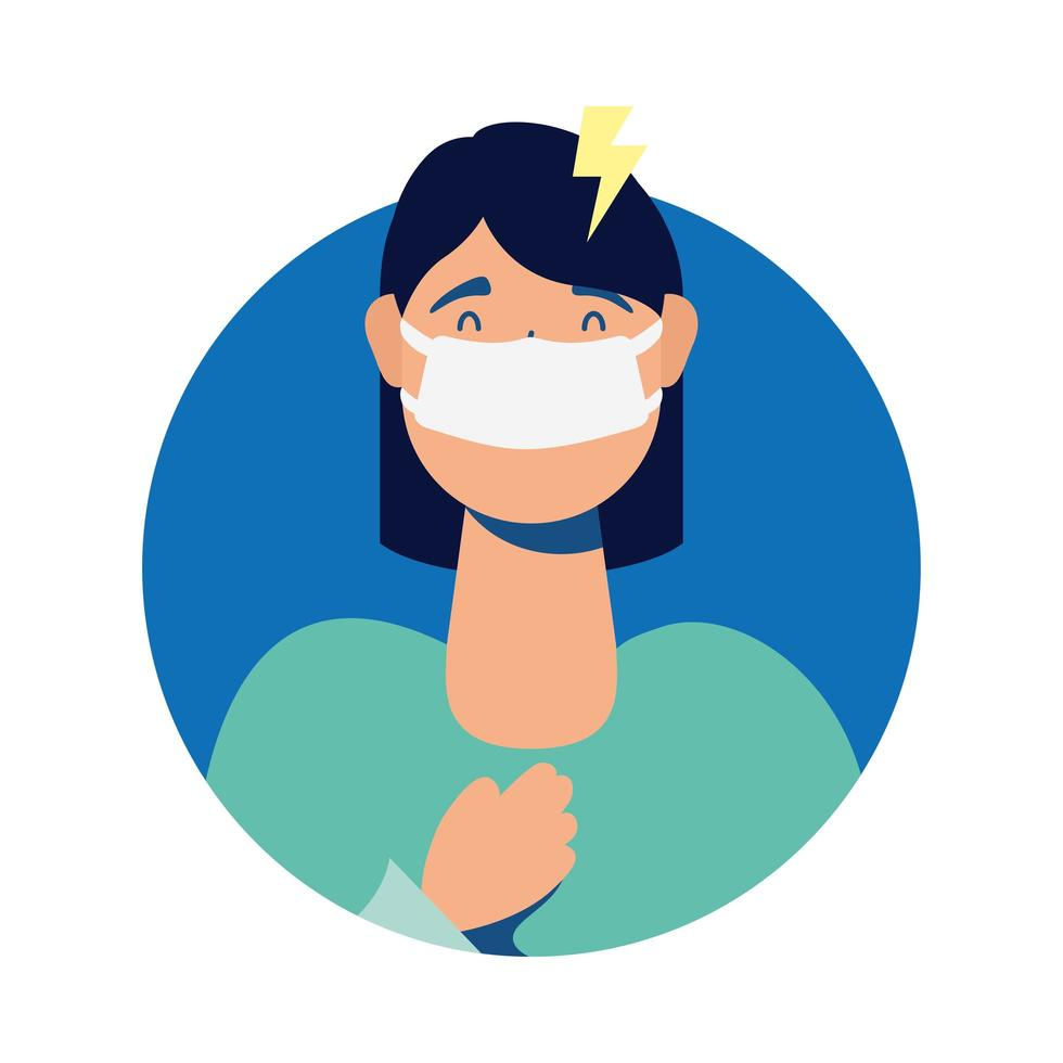 young woman wearing medical mask with headache character vector