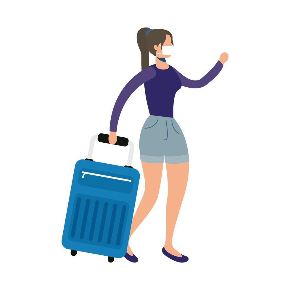 mujer joven, llevando, médico, máscara, con, maleta, carácter vector