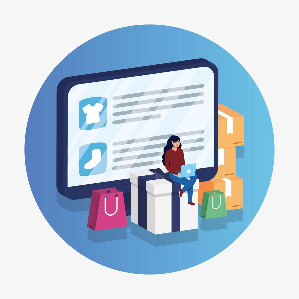 Compras de comercio electrónico en línea con una mujer usando una computadora portátil y de escritorio vector