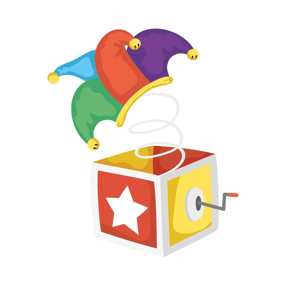 surprise box with jester hat fools day accessory vector