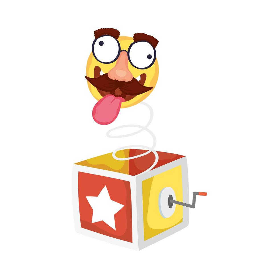crazy emoji face with mustache in surprise box fools day vector
