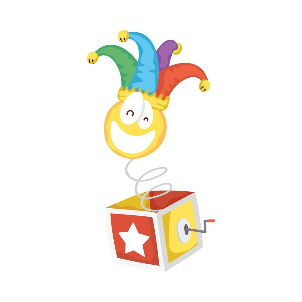 crazy emoji face with jester hat in surprise box fools day vector