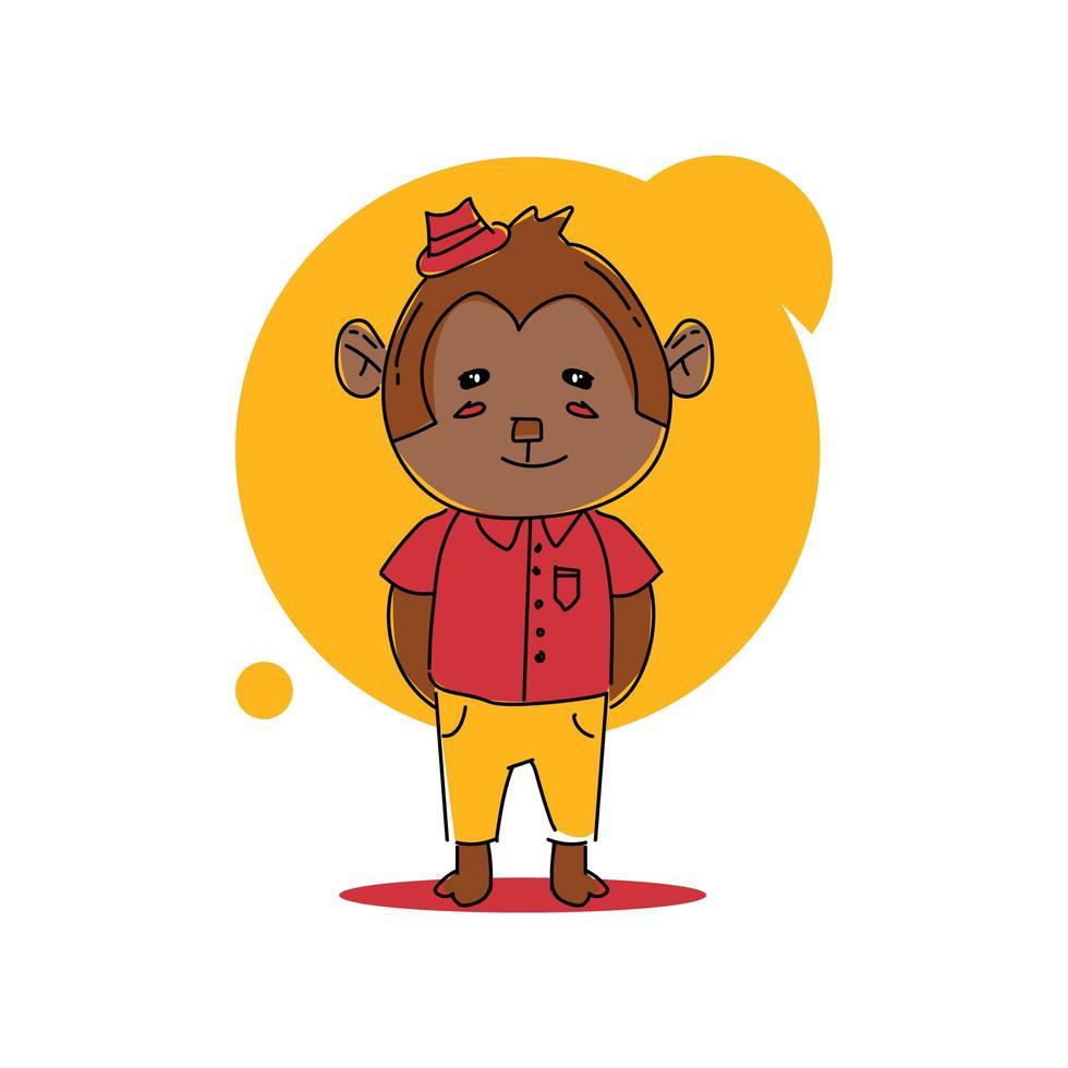 mono de dibujos animados lindo bebé animal en diseño uniforme vector