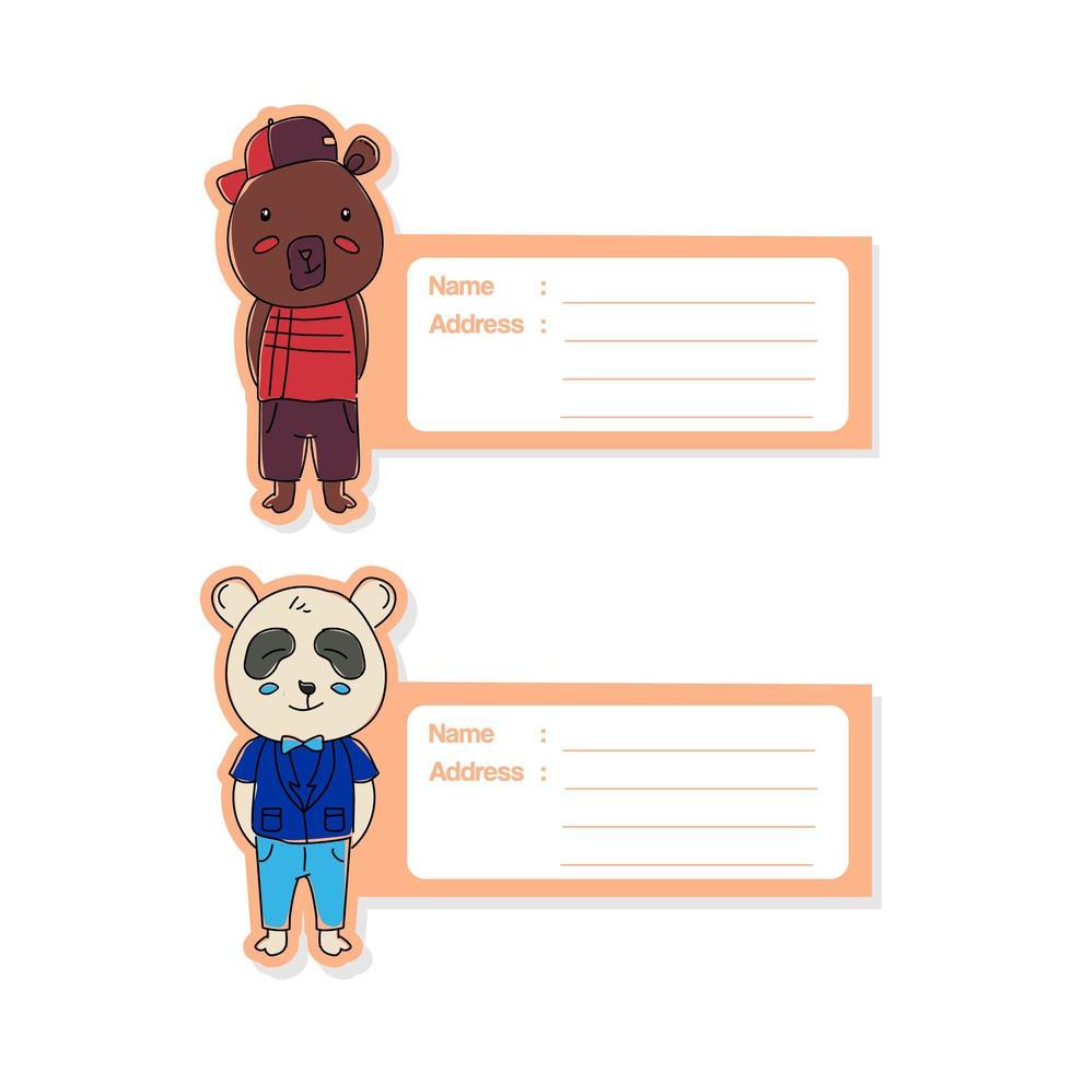 Cute animal label tag set vector