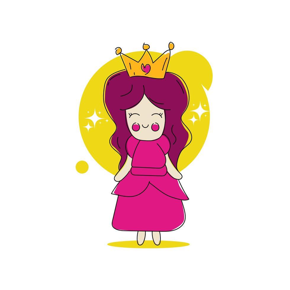 diseño lindo de la ilustración de la pequeña princesa de la historieta en el fondo blanco vector