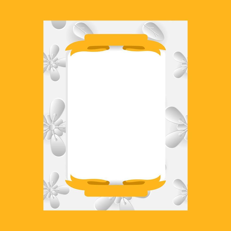 3d flower frame photo template design for print vector