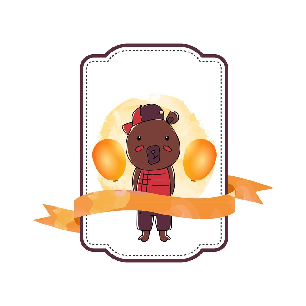 Baby animal bear label with ribbon vector