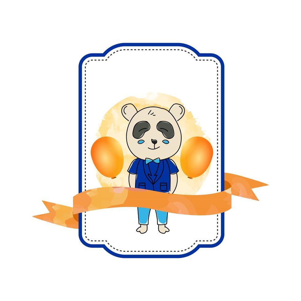 Plantilla de diseño de placa de panda animal bebé aislada sobre fondo blanco vector