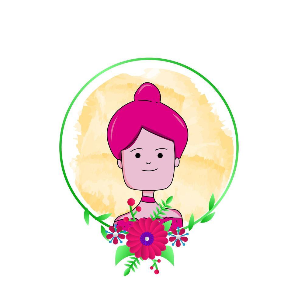 chica con diseño floral redondo vector