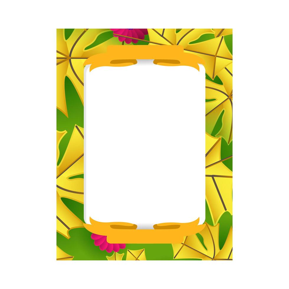 Realistic floral frame photo template design for printing vector