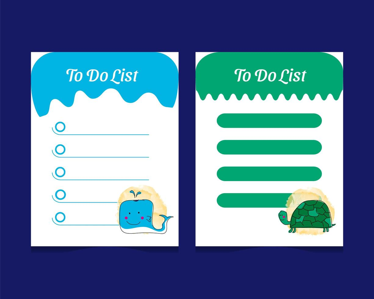 To do list template set with baby animal characters vector