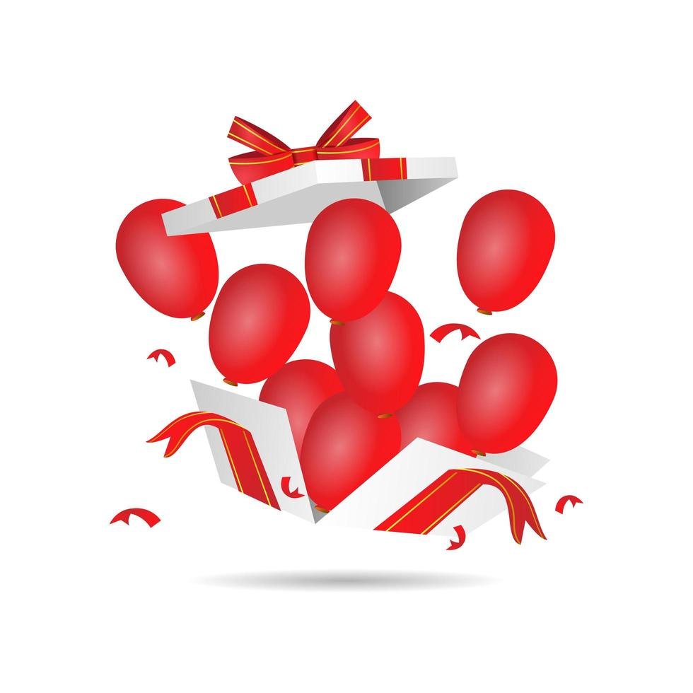 Realistic gift box with balloons vector