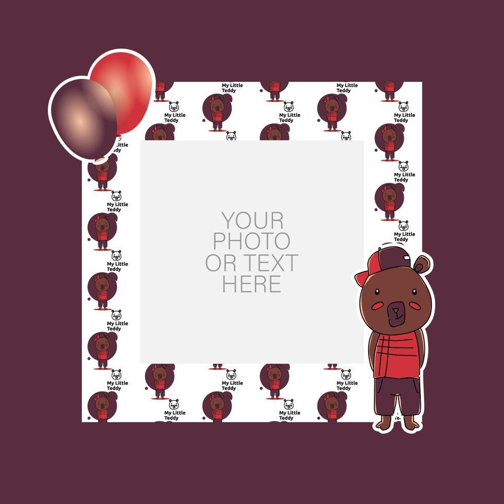 marco de fotos con diseño de oso y globos de dibujos animados vector