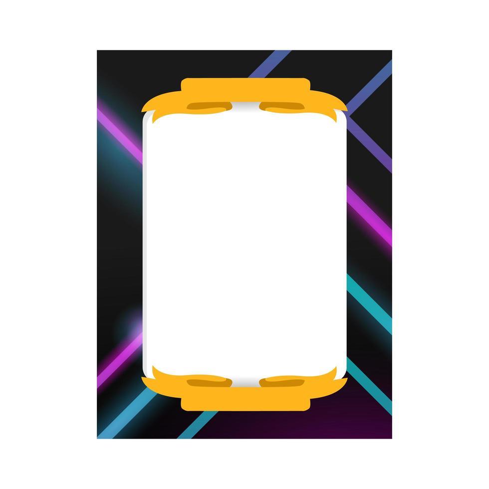 diseño de plantilla de foto de marco de luz de neón para imprimir vector