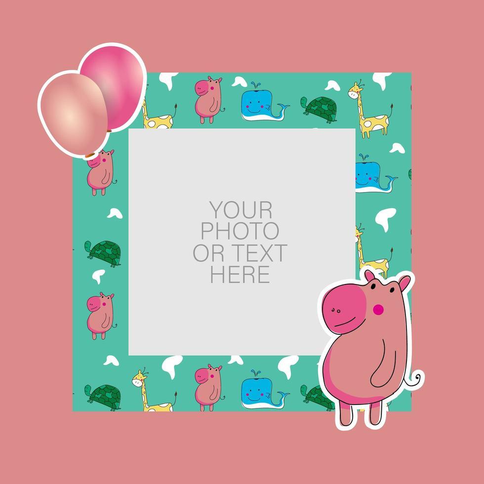 marco de fotos con hipopótamo de dibujos animados y diseño de globos vector