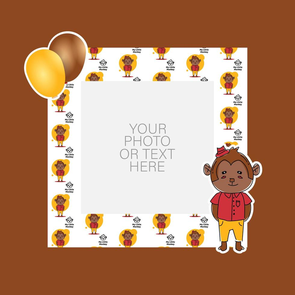 Photo frame with cartoon monkey and balloons design vector