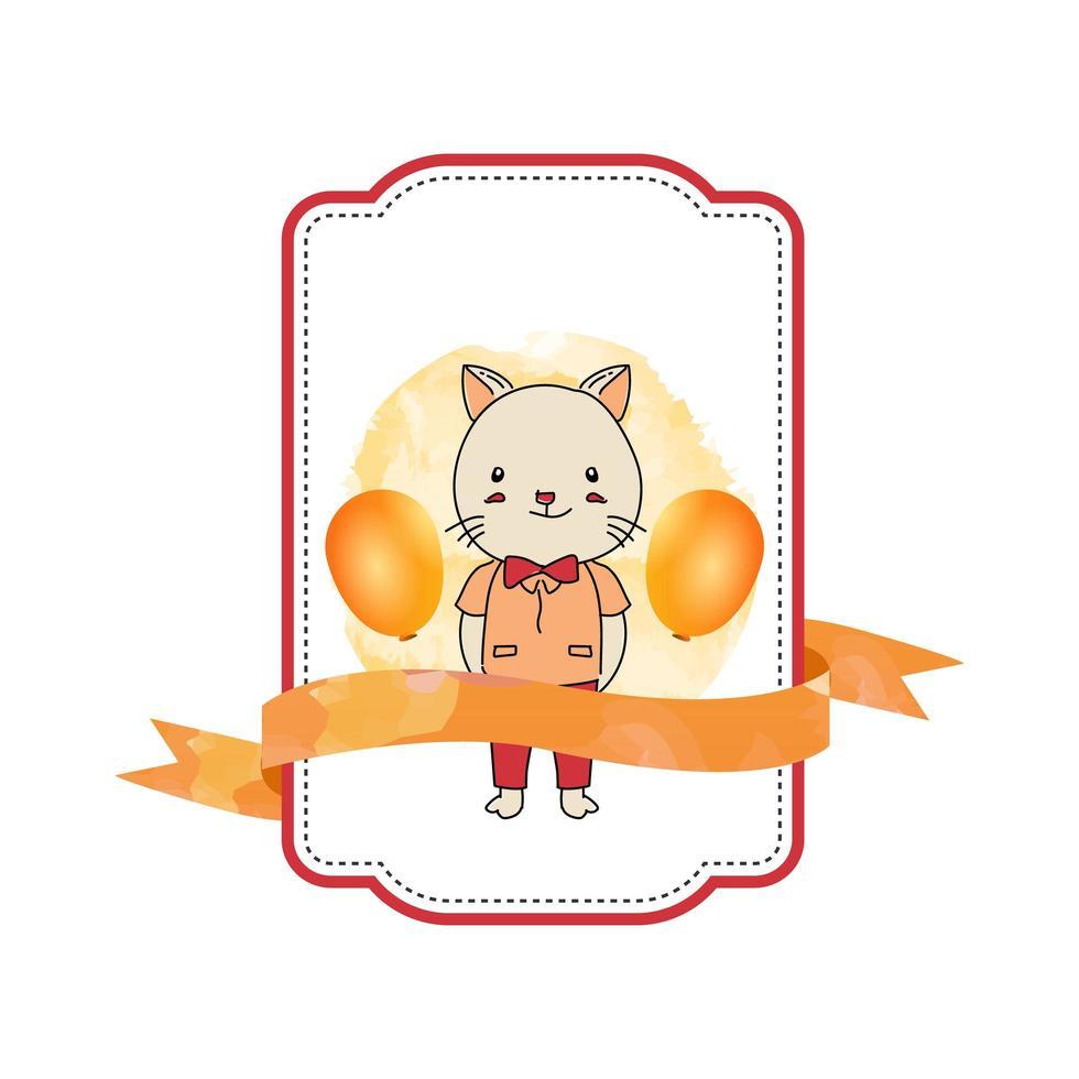 etiqueta de bebé animal gato con cinta vector