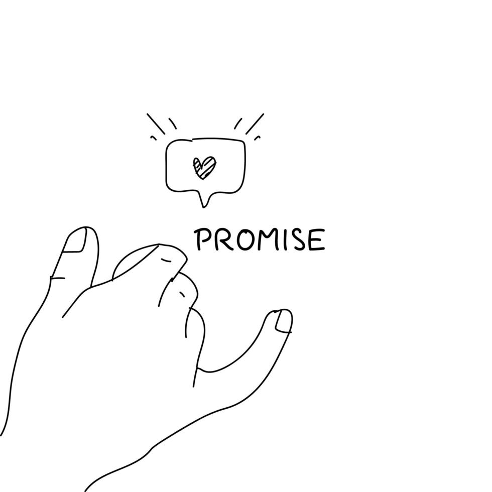 Line art hand drawn pinky promise concept vector